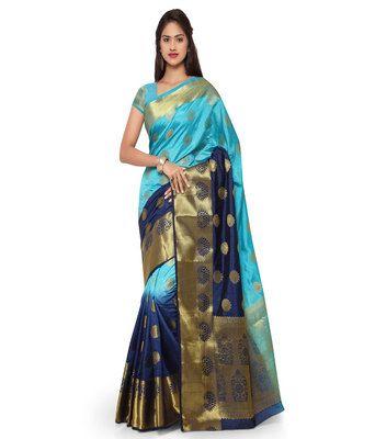 Sky Blue And Navy Blu Woven Kanchipuram Art Silk Dual Color Saree Sarees on Shimply.com