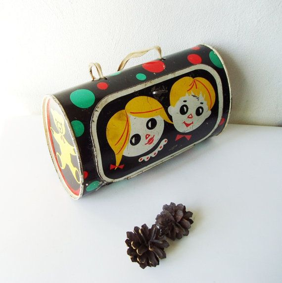 Tin School Lunch box Soviet Vintage round box by MerilinsRetro