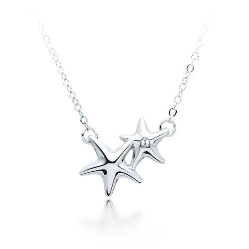 Designer Double Starfish Pendant - Rhodium Plated