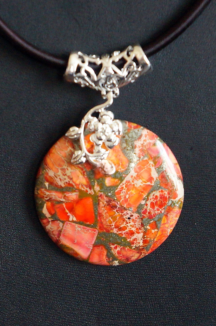 Charming Orange Sea Sediment Jasper & Pyrite Round Pendant Bead with silk necklace