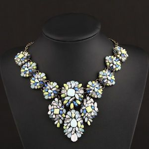 Noble Exaggeration Flower Occident Exquisite Long Clavicle Statement Necklace