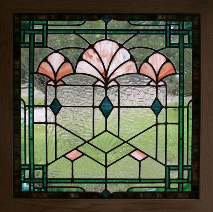 Art Deco Stained Glass Patterns transoms | art deco shells stained glass window 3 x3 in solid oak frame sold ...