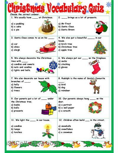 Holiday English Worksheets : Christmas vocabulary quiz worksheet free esl printable