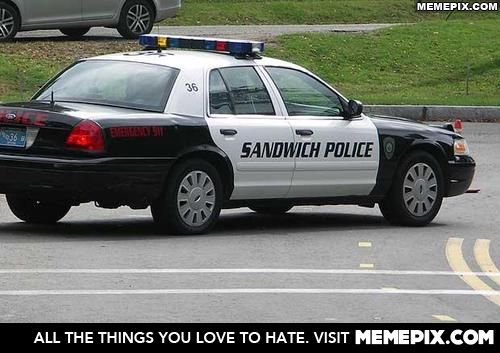 there is a town called sandwich in massachusetts. There are literally police cars labelled sandwich police