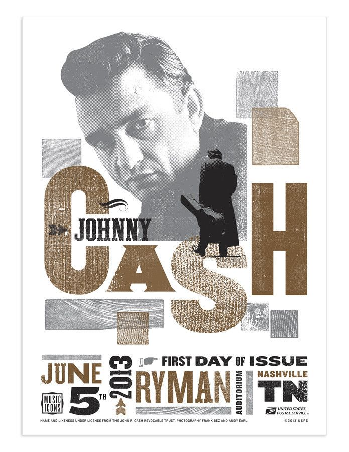 Johnny Cash First Day Stamp Issue Limited Postal Poster Print Hatch Show Print | eBay #Cash #Design
