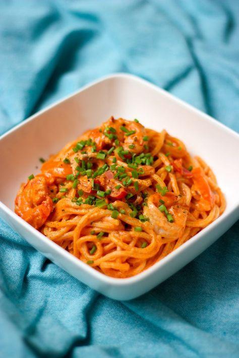 Pasta met scampi in tomatenroomsaus – Gabrielle Ploeger
