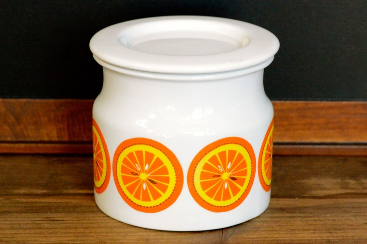 "Arabia of Finland: ""Pomona"" orange marmalade pot"