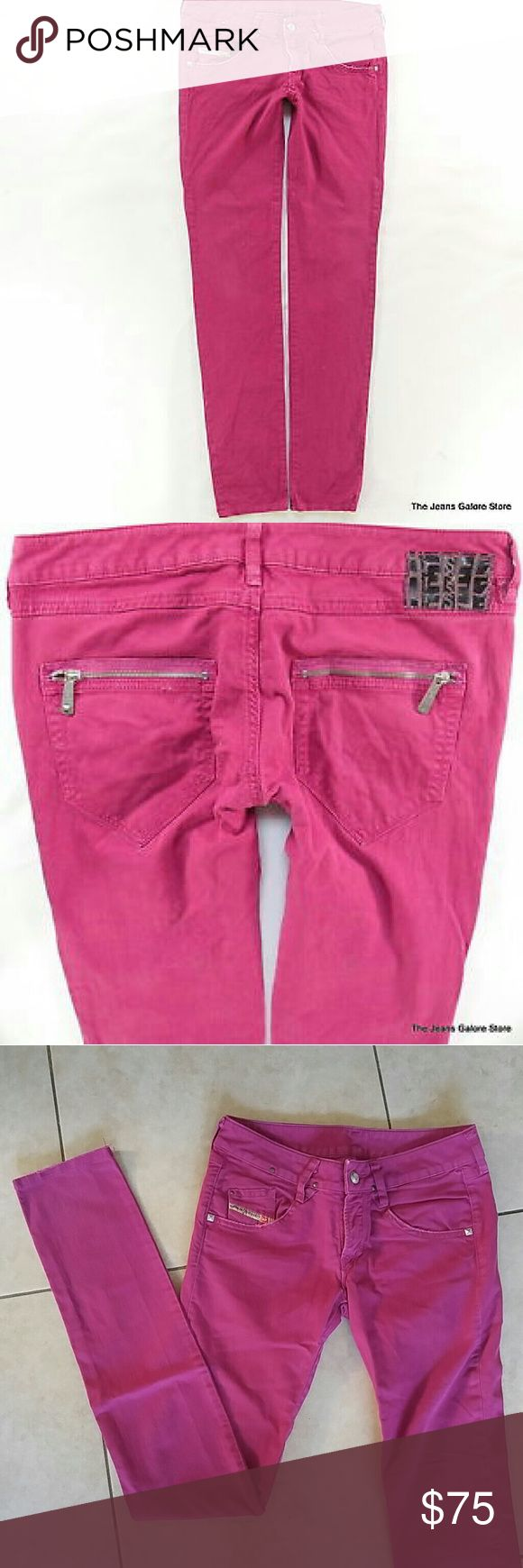 Diesel jeans size 26 HotPink Diesel jeans size 26 HotPink  Low Rise, Straight Leg Lightly worn Zippers and Stud details 98% cotton 2% spandex Diesel Jeans Skinny