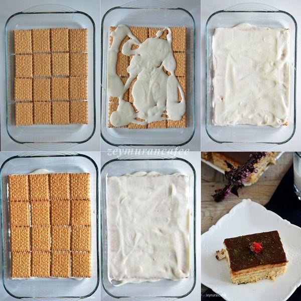 Muhallebili Bisküvi Pastası Yapılışı, bisküvili pasta, kolay pasta tarifleri