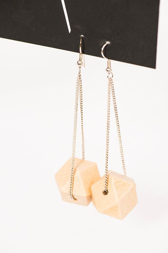 chain & wood earrings / silver chain / geometric wooden earrings / chic earrings / woman / wedding / original / gift idea / handmade