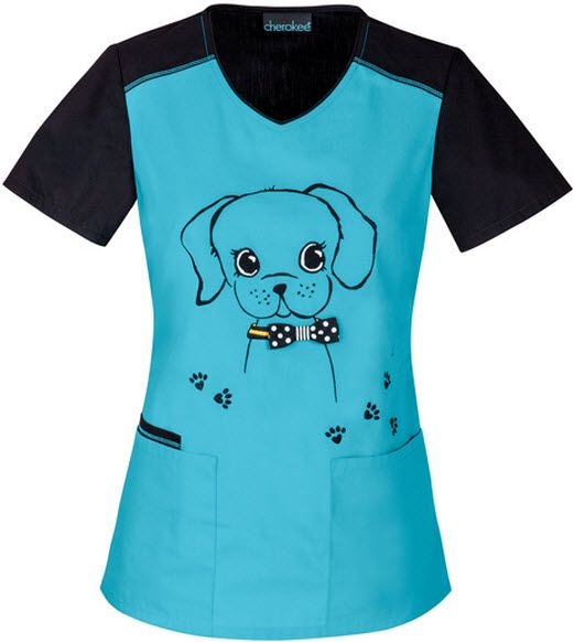 Vet Scrubs For Women - Dog Print Scrub Top For Women