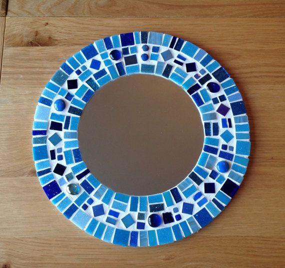 Blue Round Mosaic Wall Mirror   Bathroom 30cm