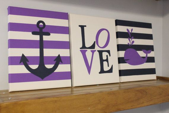 Nautical nursery wall decor paintings by JessieAnnCreations, $50.00