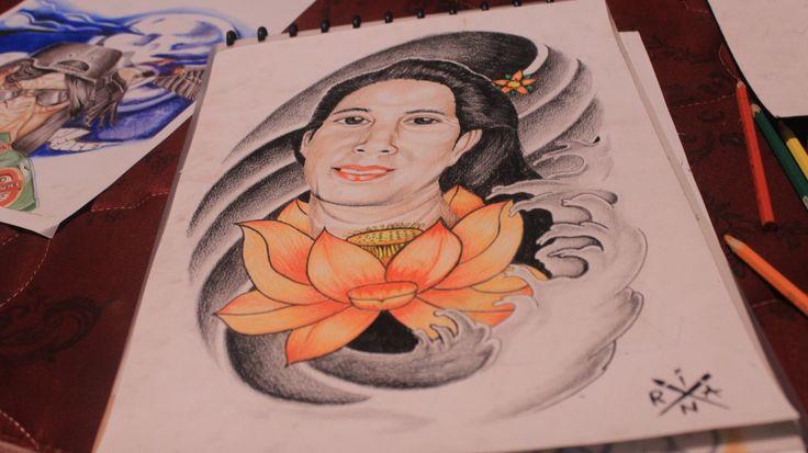 Oriental portrait and lotus tattoo design.  #oriental#portrait#lotus#tattoodesign