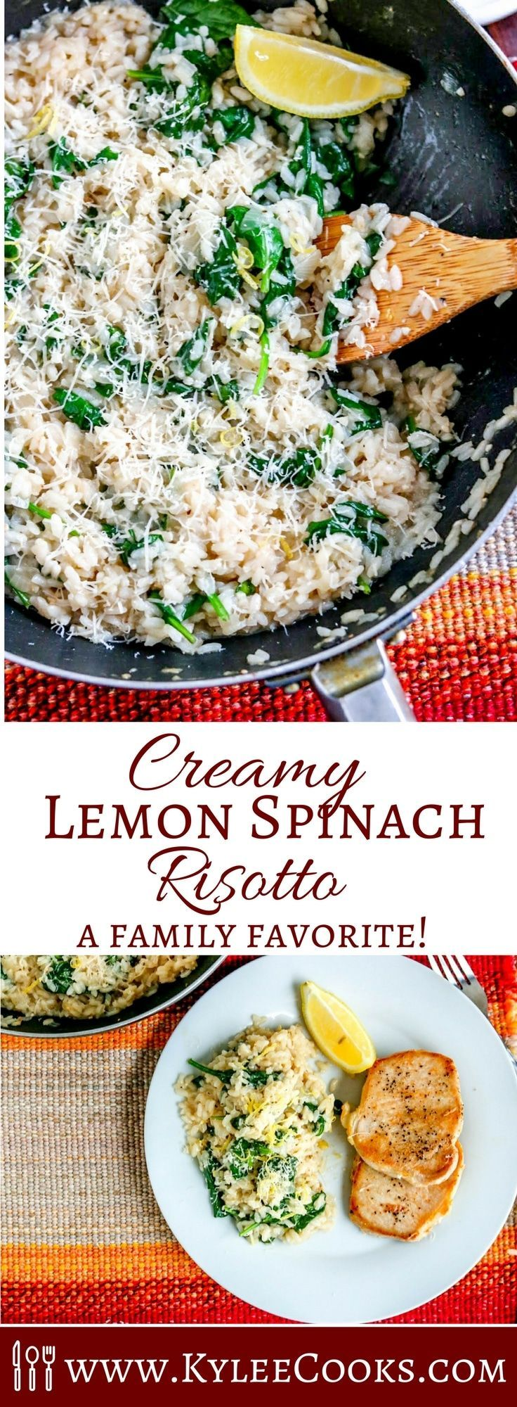 A delicious side, or a main meal – this creamy Lemon Spinach Risotto is packed with flavor and super easy to make. Adults AND kids love it! #risotto #recipe via @kyleecooks
