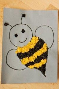 """okul öncesi sanat etkinliği """"kolaj çalışması """"arı"""" """""""
