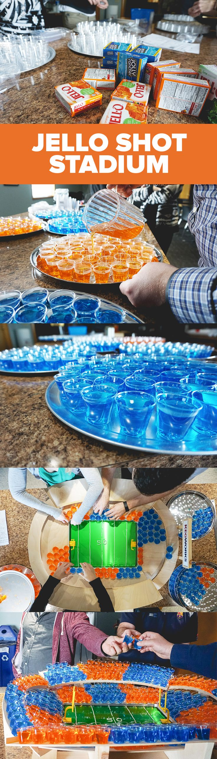 Snackstadiums are cool and all, but this football season, step up your tailgating game with a stadium made entirely of Jello shots in colors that correspond with the teams competing.