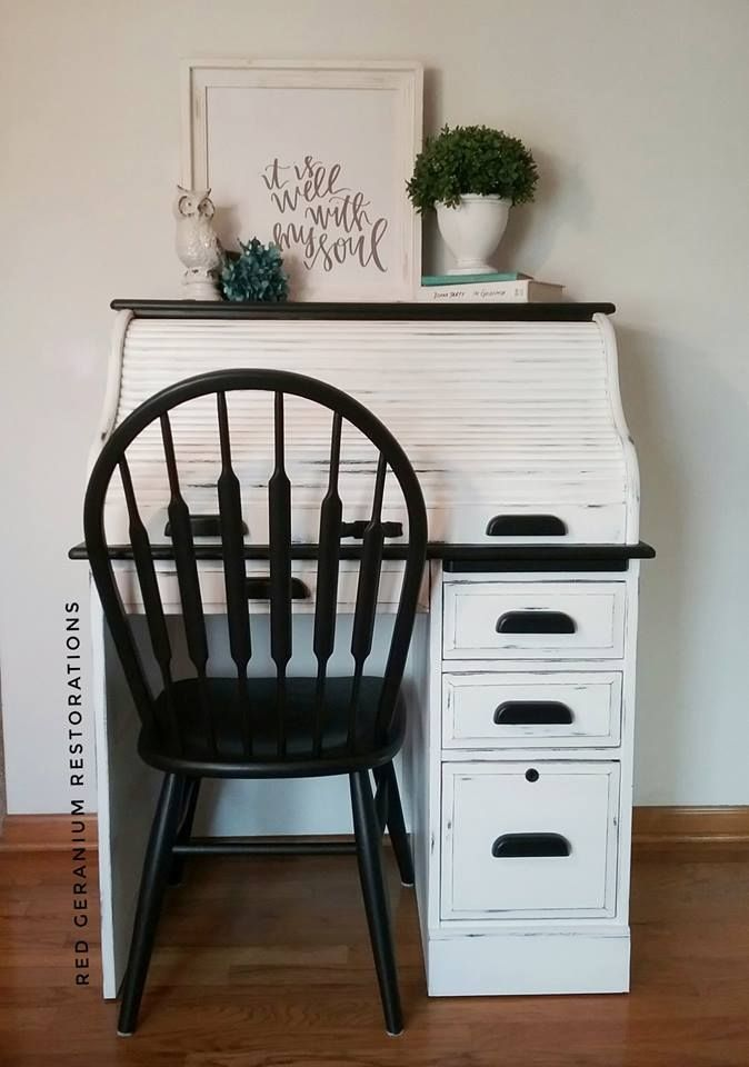 Roll Top Desk In Snow White Lamp Black White Painted Desk White Distressed Furniture White Painted Furniture