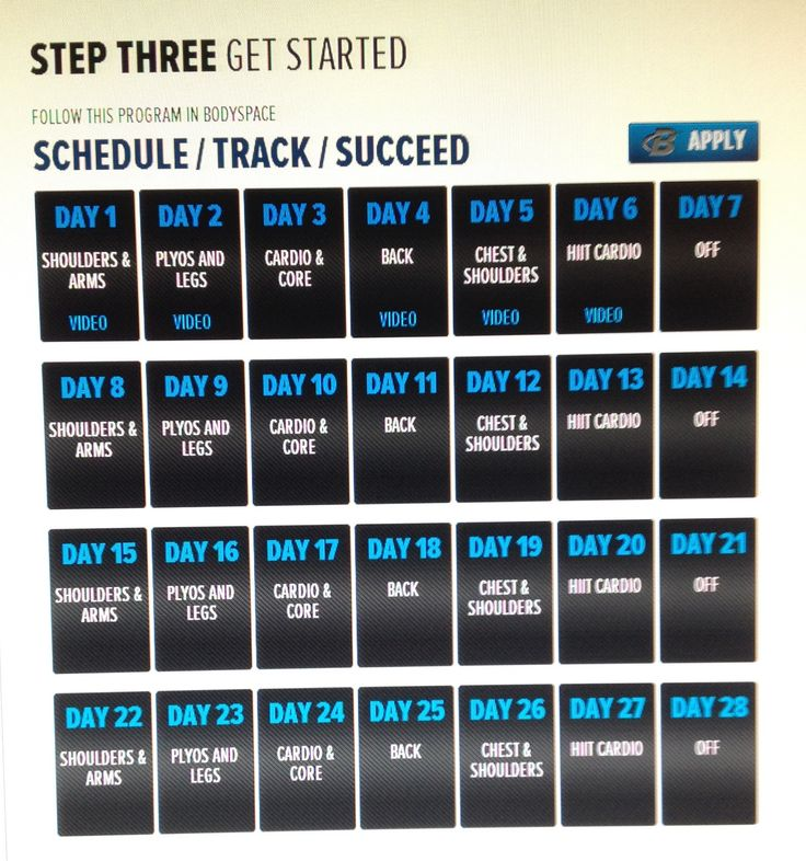 Erin Stern's Elite Body 4 Week Calendar: I am looking forward to starting this program!