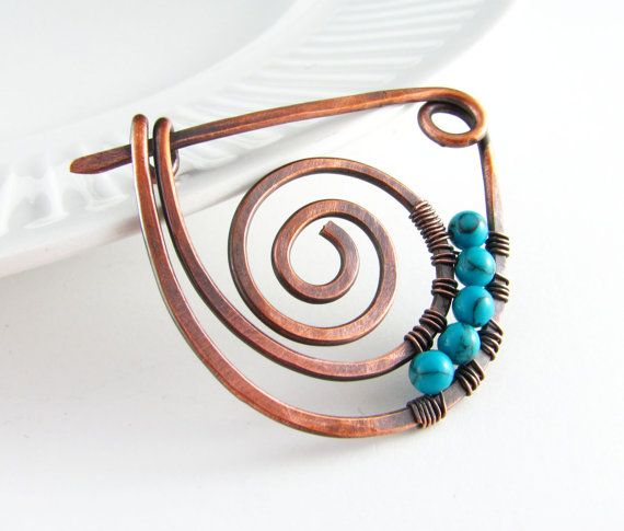 Hey, I found this really awesome Etsy listing at https://www.etsy.com/listing/209452795/shawl-pin-copper-wire-turquoise-scarf-or