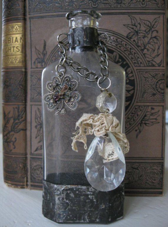 Soldered Altered Assemblage Bottle  #bottles #jars #craft with bottles #glass craft #recycle #upcycle #altered art bottles