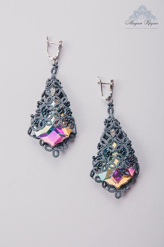 Tatting Lace earrings Princess Diana French lace by MadamKruje