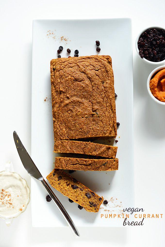 Vegan Pumpkin Currant Bread | via minimalistbaker.com