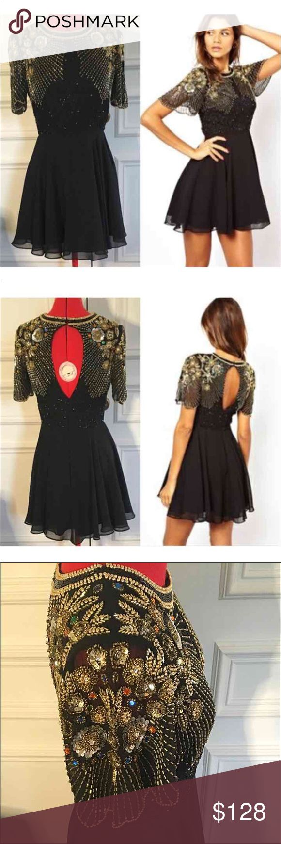 NWT hand beaded VL skater dress Gorgeous Onyx skater dress by designer Virgo's Lounge. Purchased from ASOS.com Beautifully hand beaded intricate gold/multicolored design  Super figure flattering silhouette Never worn, NEW WITH TAG! UK size 10, which translates to a Small $166 original price ASOS Dresses Mini