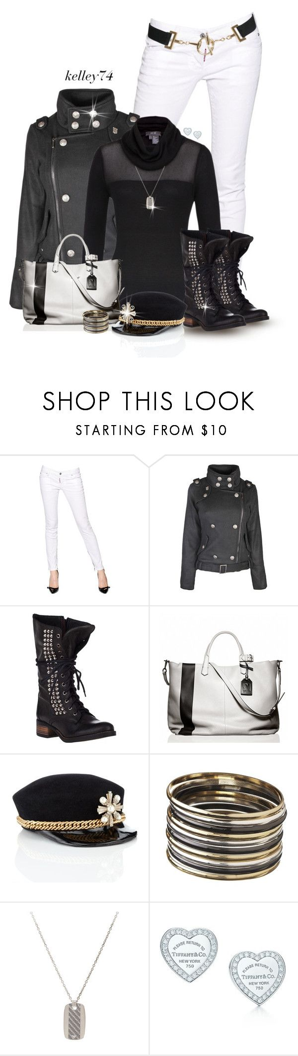 """White Jeans, Black Boots"" by kelley74 ❤ liked on Polyvore featuring Dsquared2, Per Se, Steve Madden, Reed Krakoff, Laura Cathcart, Emporio Armani and Tiffany & Co."