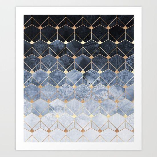 Blue Hexagons And Diamonds Art Print