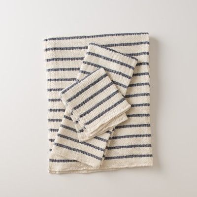 Waffle Stripe Towels - Navy | Bath Linens | Bed + Bath
