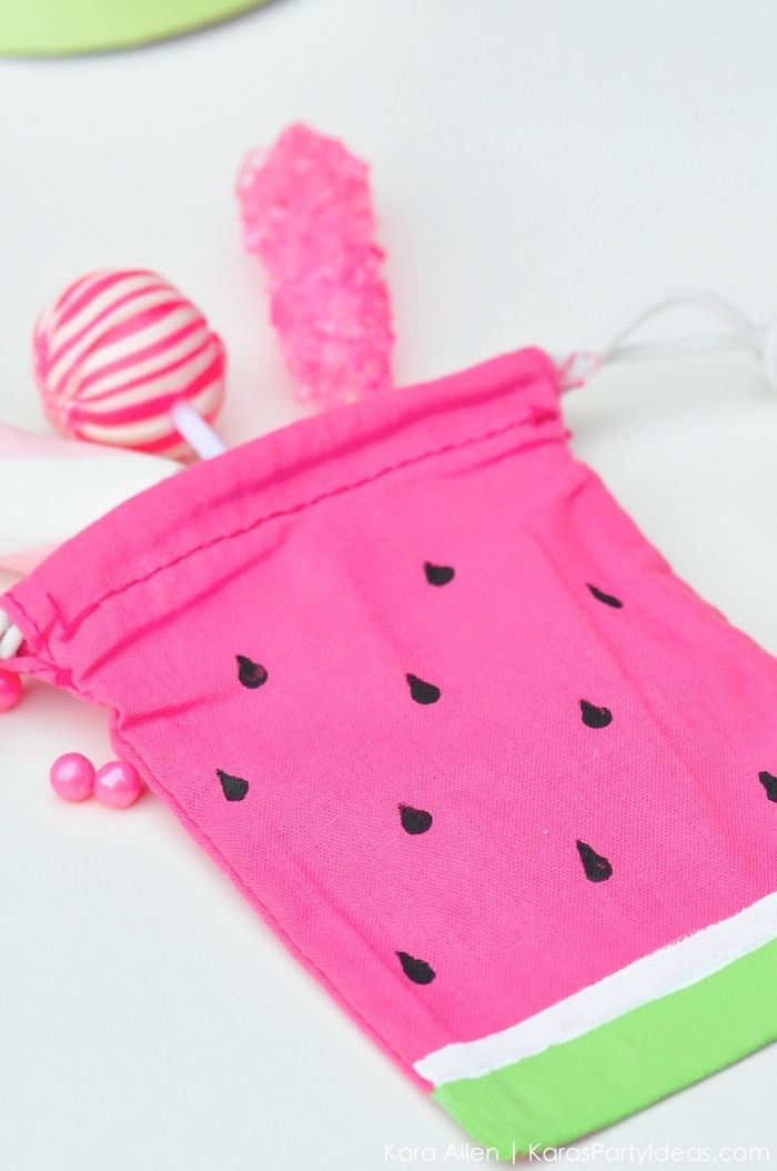 Watermelon themed DIY birthday party favor bag by Kara's Party Ideas | Kara Allen | KarasPartyIdeas.com #MichaelsMakers You're one in a melon! 7