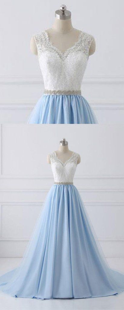 Sky blue long V neck halter evening dress with beaded belt, white lace sweet 16 prom dress #prom #dress #promdress #promdresses