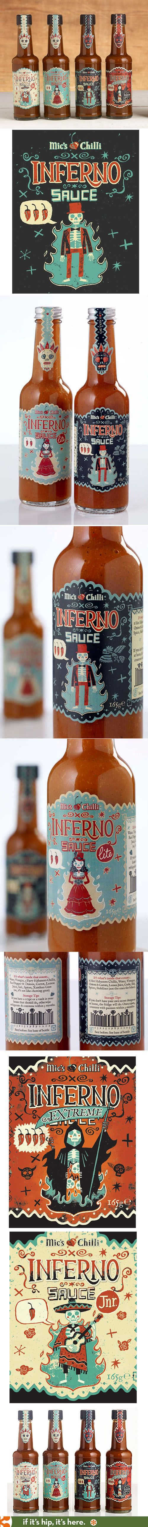 Fabulous label designs for Mic's Chilli Inferno Sauces by Steve Simpson.