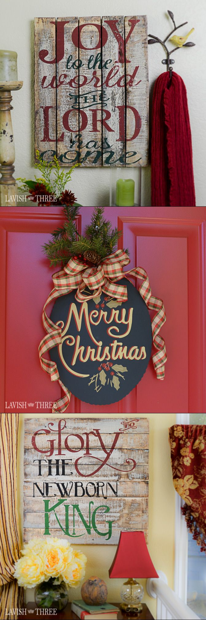 Welcome your guests this Christmas season with our vintage inspired signs. Choose from Joy to the world, Glory to the newborn king both on aged wood or Merry Christmas hand painted on tin. Explore our entire collection of home decor, gifts and jewelry to lavish your heart, your soul and your home!