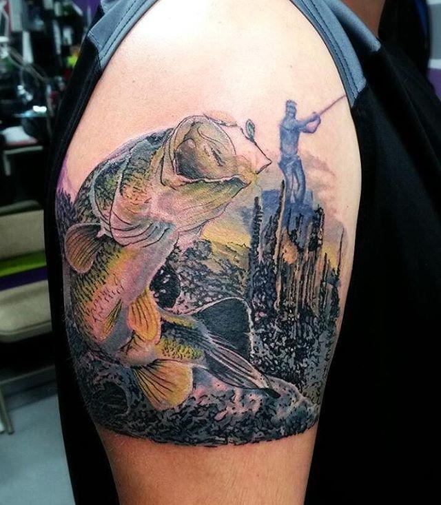 Awesome Memorial Piece Done! #memories #fishing #fish #bass #fishinglife #memorial #tattoo #tattoos #toptattooartist #bestoftheday #inkstagram #inkjunkeyz #tattoomagazine #inkmaster #geeksterink #tattooarmadasubmission #crazytatt #bassproshop #fisherman #skinandink #eternalink #electrumstencilprimer #tatsoul #realism #inkedmag #tat2magazine #dermagrafx #wylegalink
