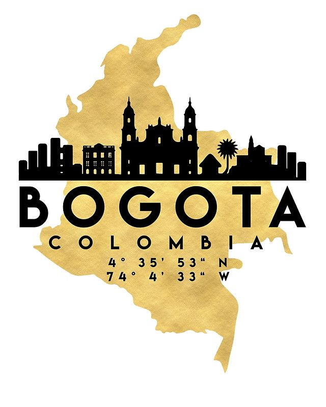 BOGOTA COLOMBIA SILHOUETTE SKYLINE MAP ART -  The beautiful silhouette skyline of Bogota and the great map of Colombia in gold, with the exact coordinates of Bogota make up this amazing art piece. A great gift for anybody that has love for this city.  bogota colombia downtown silhouette skyline map coordinates souvenir gold deificus art