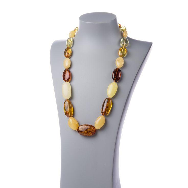 Collana a sassi di Ambra Baltica multicolore e Ag 925 - Collane - Gioielli - Gioielli in Pietre Dure e Preziose