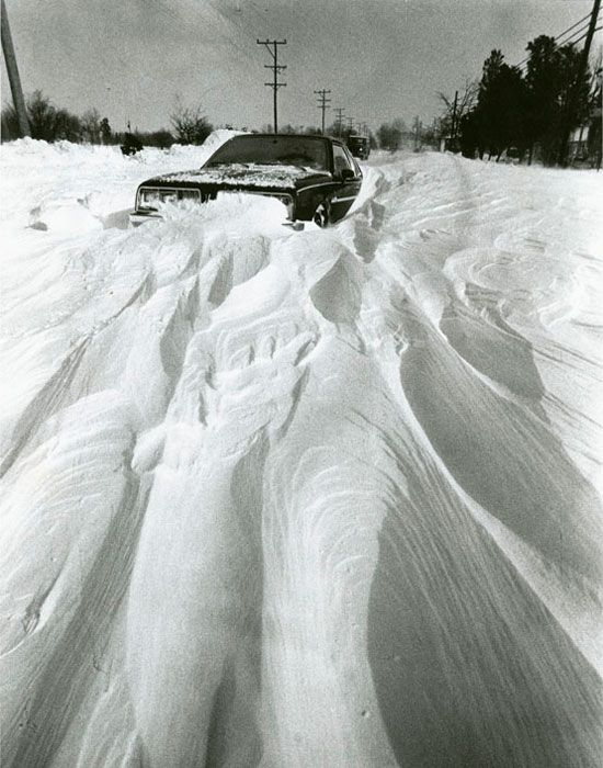A stranded car during the blizzard of 1978// It was really bad in Cleveland when this hit I lived in Cleveland Heights. Pat Schwab