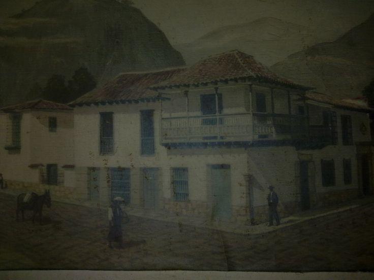 Foto de un cuadro que representa la antigua Casa del Florero, hoy Museo de la Independencia, Bogotá-Colombia, pintura de José María Calle Torres (1911-1990).