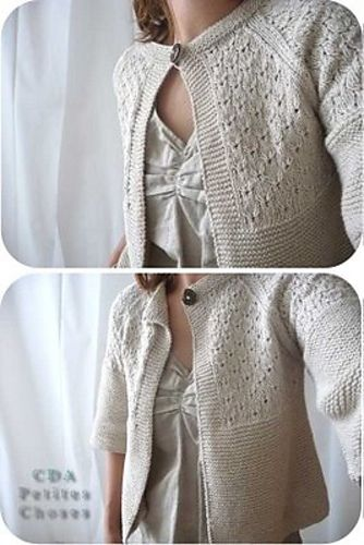 Ravelry: paletot point de broderie anglaise pattern by Dany Edan