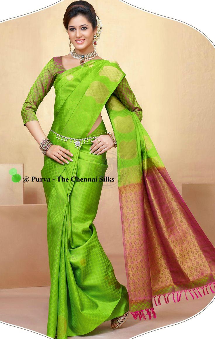 ❀Purva❀  - Green & Red Silk Saree - Source - The Chennai Silks