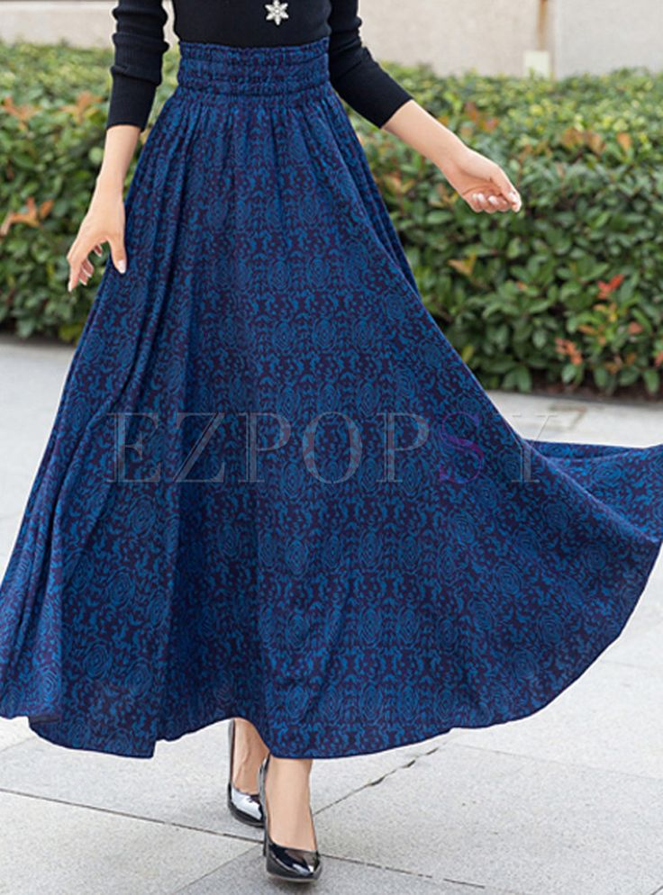 Shop for high quality Vintage Floral Pleated A-Line Long Skirt online at cheap prices and discover fashion at Ezpopsy.com