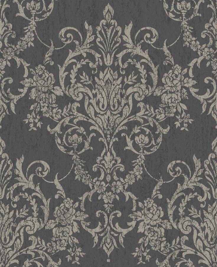 Victorian Damask Black Damask, Victorian, Textured wallpaper