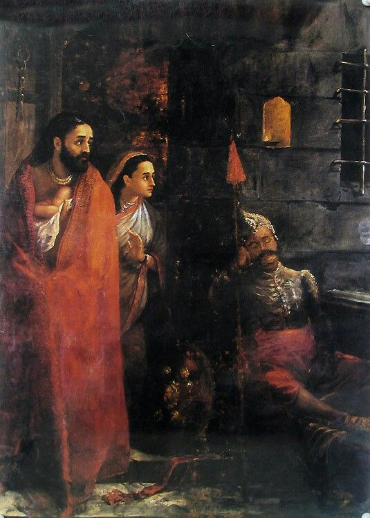birth of krishna by raja ravi varma