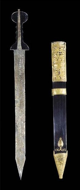 """Roman Pompeii-type Gladius (Short Sword) (The """"Guttmann Gladius"""") with Tinned Bronze Scabbard and Iron Spear Head, Found Together 