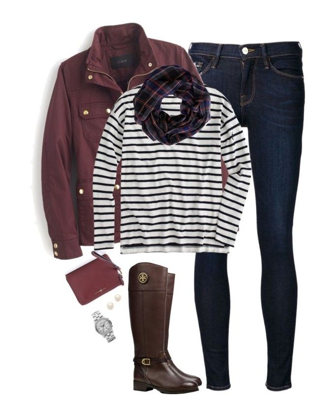 """""""Burgundy, stripes & plaid"""" by steffiestaffie ❤ liked on Polyvore featuring Frame Denim, Tory Burch, J.Crew, Sole Society, Juliet & Company and Marc by Marc Jacobs"""
