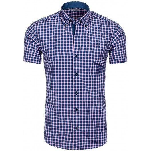 Štýlová pánska košeľa modrej farby s kockovaným vzorom - fashionday.eu