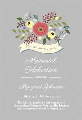 memorial announcements templates