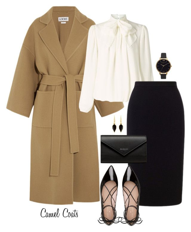 Camel coats. by lowrilester on Polyvore featuring polyvore, fashion, style, Somerset by Alice Temperley, Loewe, Roland Mouret, Kate Spade, Balenciaga, Olivia Burton, Isabel Marant and clothing
